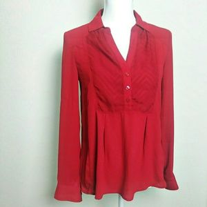 Maeve Anthropologie Red Popover Blouse